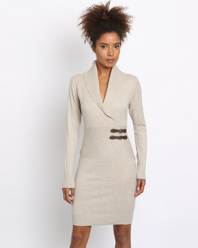 G Couture Mock Wrap Knitwear Dress Stone
