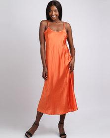 UB Creative Satin Long Dress Orange