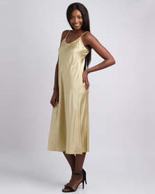 UB Creative Satin Long Dress Gold
