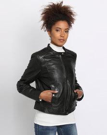 Utopia Leather Biker Jacket Black