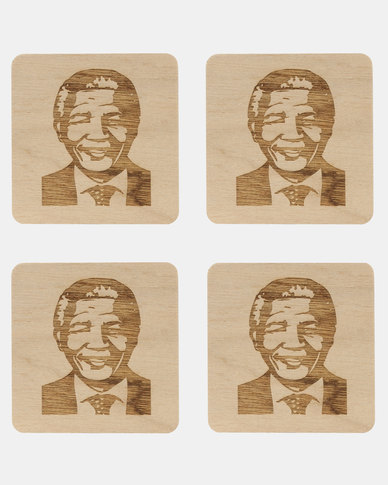 Native Decor 4 Piece Mandela Coaster Brown