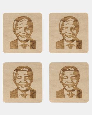Native Decor 4 Piece Mandela Coaster Brown