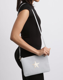 All Heart Zipped Pouch With Star Grey