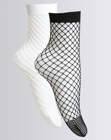 All Heart Ladies 2 Pack Fishnet Socks Black and White