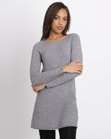 G Couture Rib Swing Knitwear Top Grey