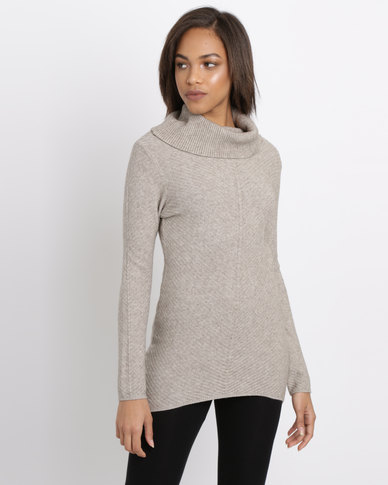 388e63df68b G Couture Diagonal Ribbed Cowl Neck Jumper Taupe