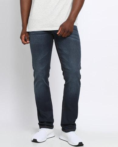 Soviet M Steve #9 Stretch Coated Slim Leg Denim Jeans Indigo