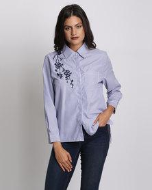 AX Paris Embroidered Stripe Shirt Blue