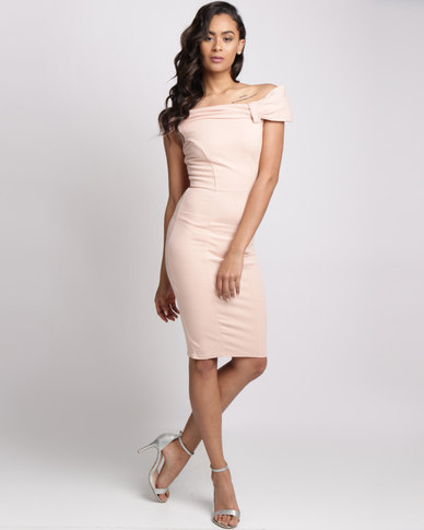 City Goddess London Bardot Midi Dress With Bow Detail Nude