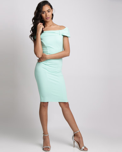 City Goddess London Bardot Midi Dress With Bow Detail Mint