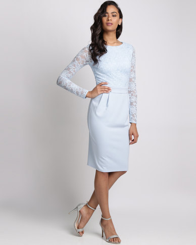 City Goddess London Long Sleeved Lace Midi Dress Powder Blue