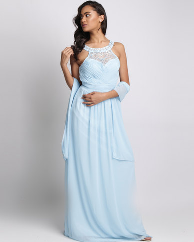 City Goddess London Embellished Chiffon Maxi Dress with Scarf Light Blue