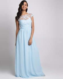 City Goddess London Chiffon Maxi Wedding Dress With Flower Detail Light Blue