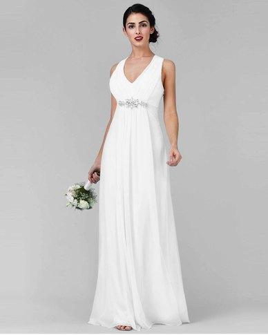 City Goddess London V Neck Embellished Maxi Wedding Dress White