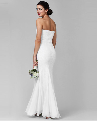 2398b7e8e1a City Goddess London Bandeau Sequin And Chiffon Maxi Wedding Dress White