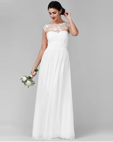 City Goddess London Chiffon Maxi Wedding Dress With Flower Detail White