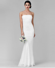 City Goddess London Bandeau Sequin Maxi Wedding Dress White