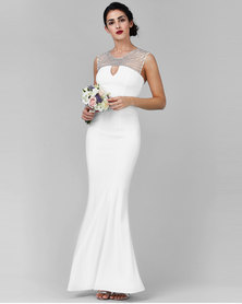 City Goddess London Embellished Neckline Maxi Wedding Dress White