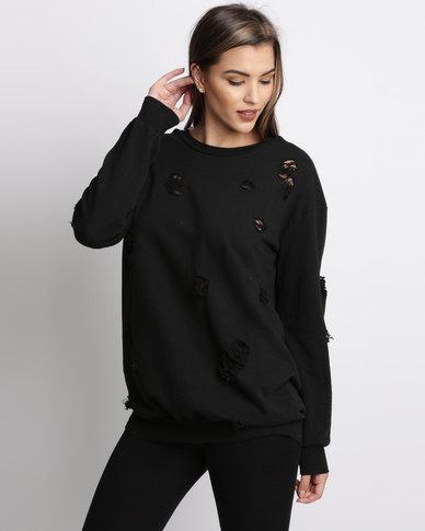 bbdf7e56aa4 AX Paris Distressed Jumper Dress Black