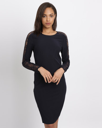 Polo Ladies Alana LS Lace Panelled Dress Navy