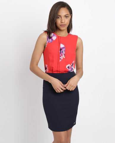 Polo Ladies Erica SL Floral Dress Red