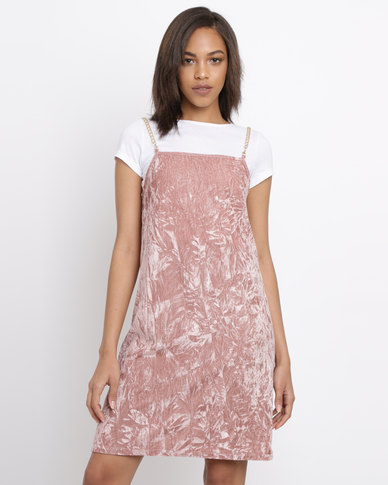 2b0432e577021 Brett Robson Cassey Velour Slip Dress With Chain Straps & Crop Tee Blush |  Zando