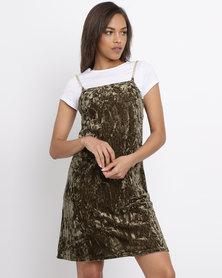 Brett Robson Cassey  Velour Slip Dress With Chain Straps & Crop Tee Khaki