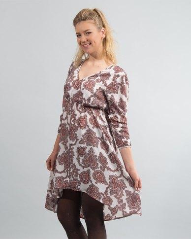 HASHTAG SELFIE Hilo Paisley Dress Cream