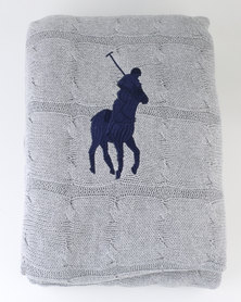Polo Cable Knit Throw with Navy Pony Grey