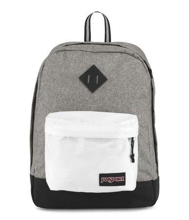 super cute a83c8 e48e4 JanSport Super FX Backpack Black White Letterman Grey   Zando