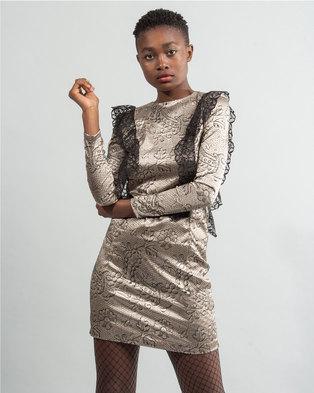 a08f170ae0e HASHTAG SELFIE 80s Lace Ruffle Dress Gold