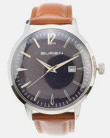 Buren Gents Sunray Dial Leather Strap Blue and Tan