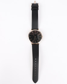 Buren Gents RG Dial With Leather Strap Black