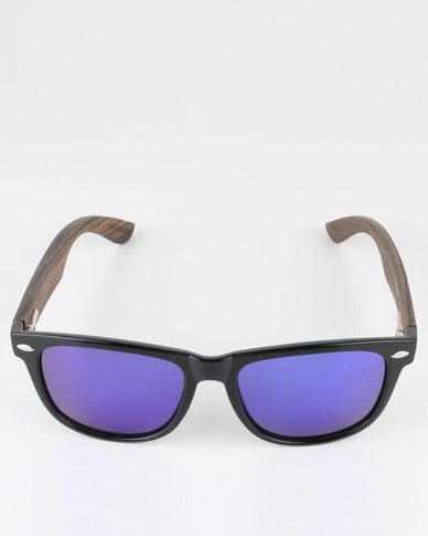 a77786a28d Thisguy. Ebony Wood Wayfarer Polarized Lens Sunnies Black | Zando