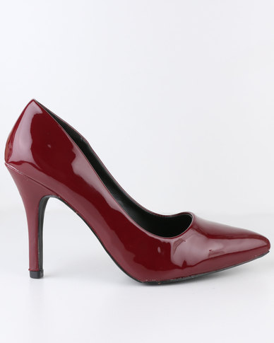 Urban Zone High Heel Pointy Court Shoe Burgundy