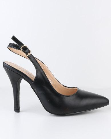 Urban Zone High Heel Slingback Pointy Court Shoe Black