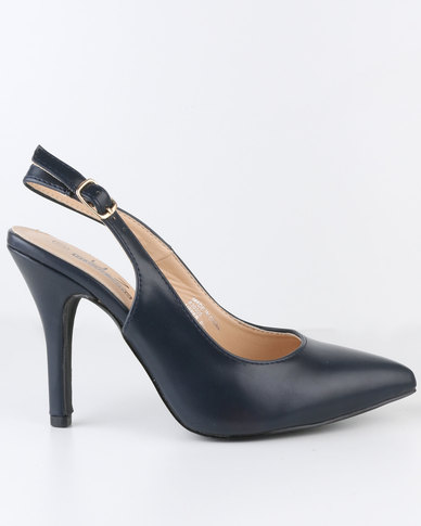 Urban Zone High Heel Slingback Pointy Court Shoe Navy