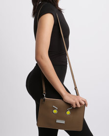 Utopia Ladies Clutch With Face Trims Taupe