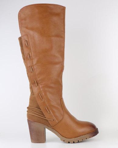 6ca30d6ed14d Bucco Block Heel Knee High Boot Cognac | Zando