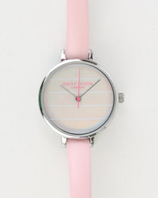 Daisy Dixon Kylie Irridescent Dial Leather Strap Watch Pink