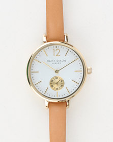 Daisy Dixon Grace Skinny Leather Strap Watch Tan