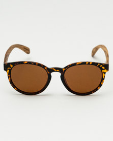 Thisguy. Zebra Wood Tortoise Shell Fighters with Polarised Lenses Brown