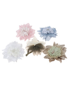 UB Creative Pack of 5 Pin-On Flower Brooch Multi Colour