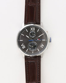 Tommy Hilfiger Alden Leather Strap Watch Brown