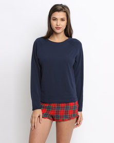 Women'secret Feminine Top Navy Blue