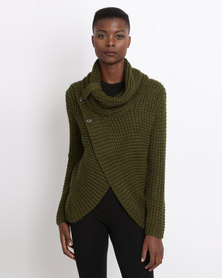 Utopia Wrap Knitwear Jumper With Cowl Neck Fatigue