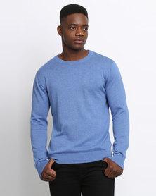 Klevas Classic Crew Neck Knitwear Bright Sea Blue