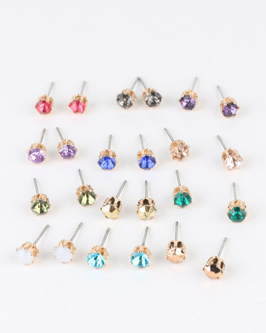 fd69ee935 New Look 20 Pack Multi Coloured Gem Stud Earrings Multi | Zando