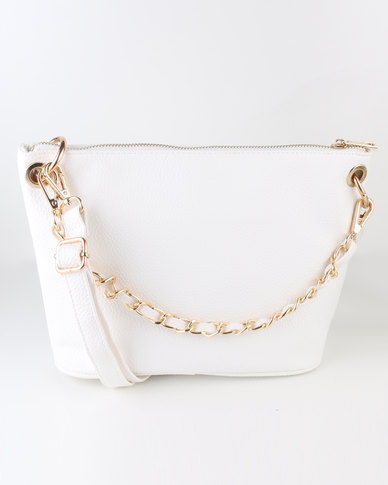 e0339de4a88 New Look Ladies Chain Strap Slouchy Crossbody Bag White