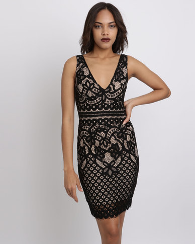 New Look  V Neck Cut Out Lace Midi Bodycon Dress Black